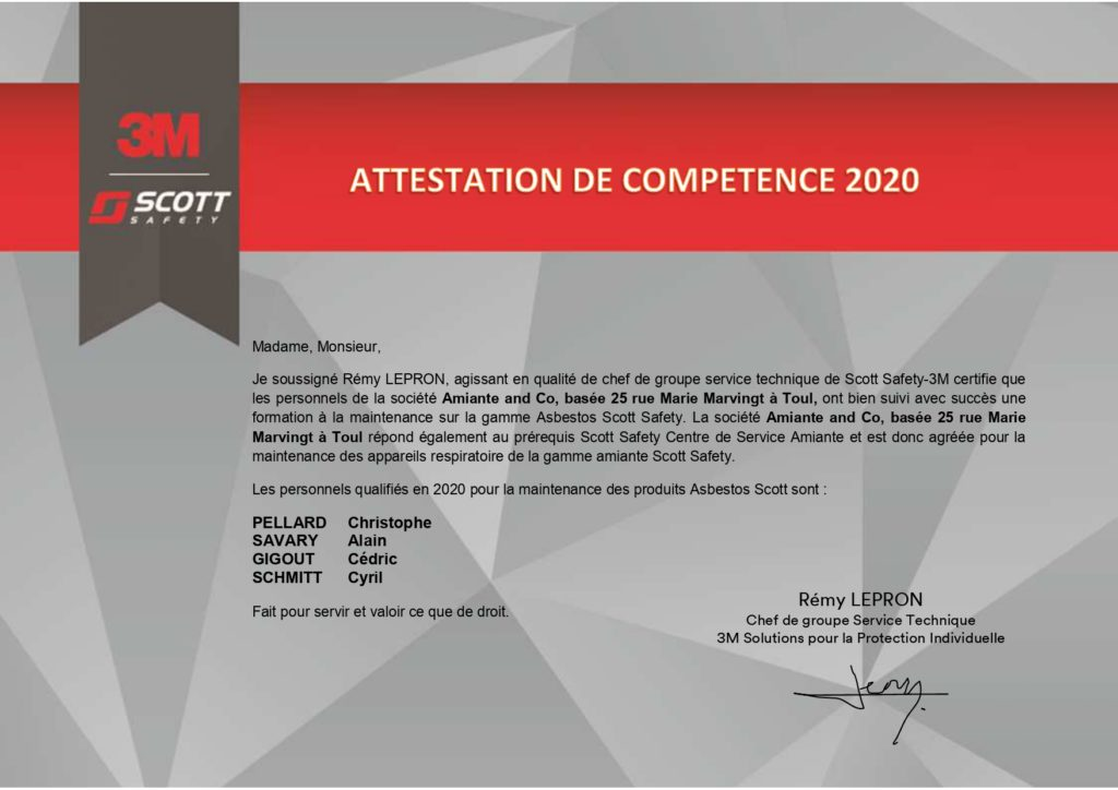 attestation de capacité annuelle Amiante and Co 3M-SCOTT 2020 agrement appareil protection respiratoire apr entretien